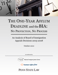 The One-Year Asylum Deadline and the BIA: No Protection, No Process by Penn State Law Immigrants' Rights Cliinic, Human Rights First, and National Immigrant Justice Center